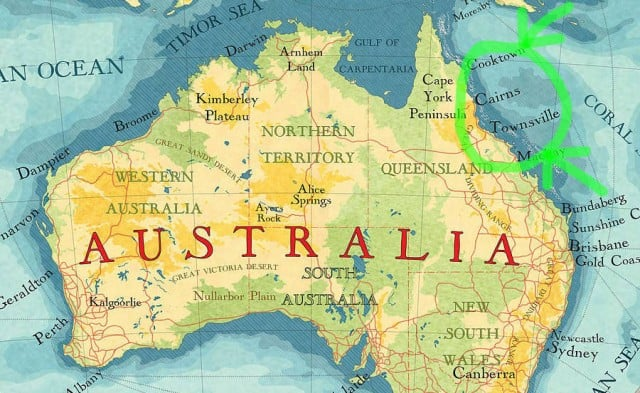 mapa australia barrera corales
