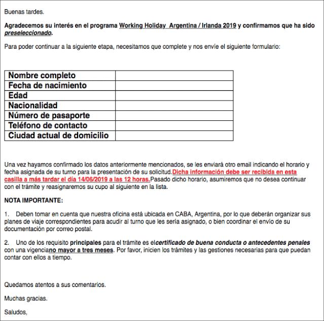 mail de pre seleccion irlanda