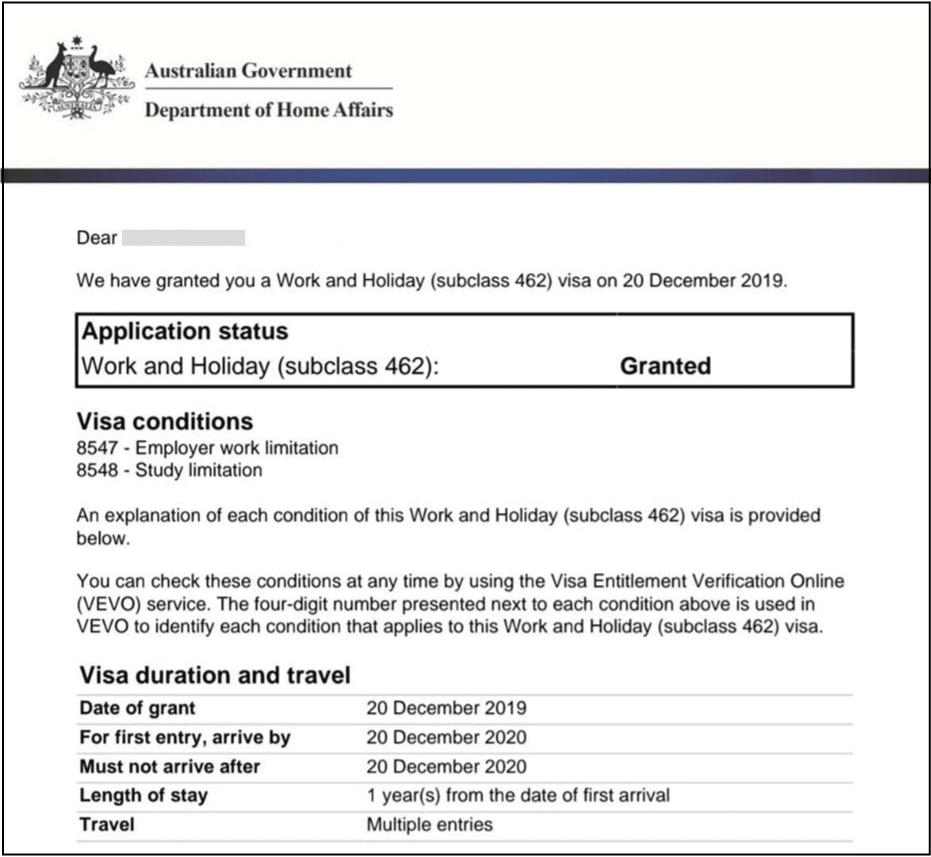 email work and holiday visa australia aprobada