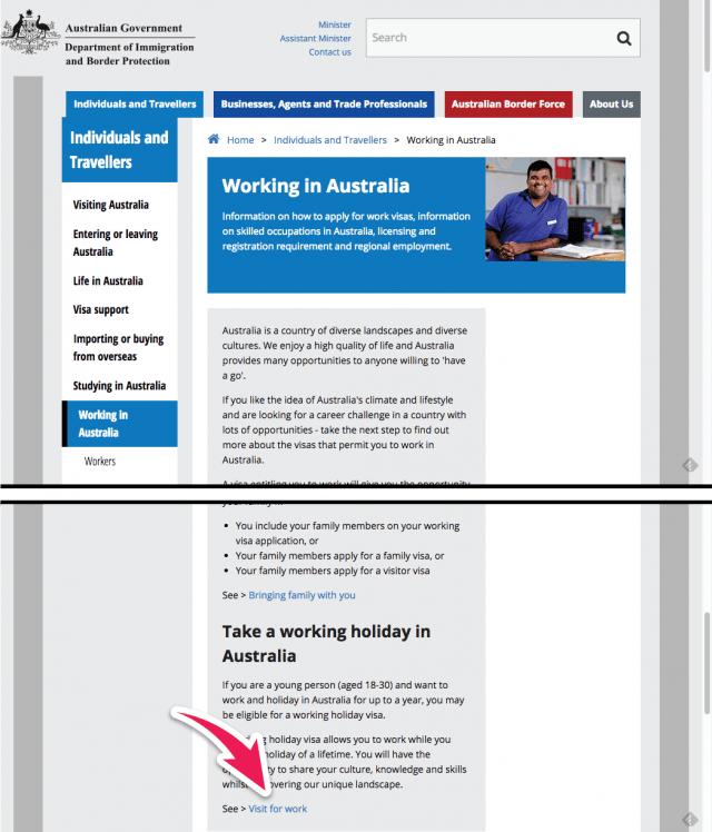 formulario aplicar working holiday australia como italiano