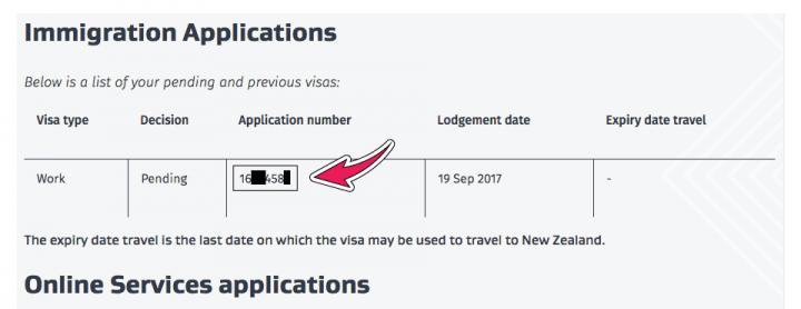 application number working holiday visa nueva zelanda