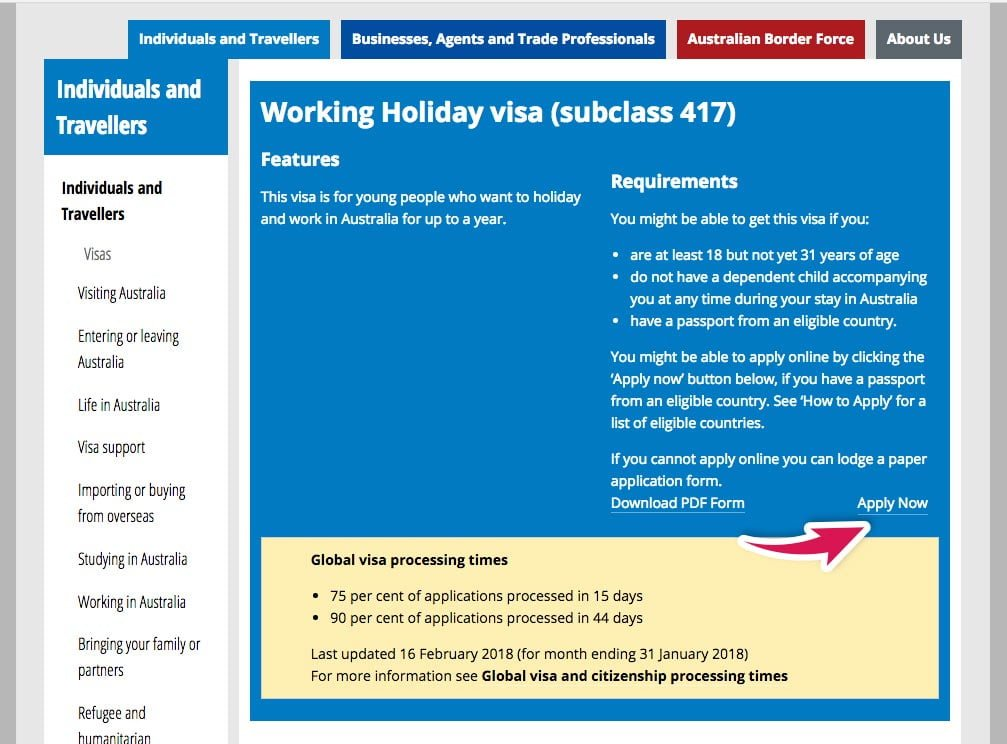 Application form for working holiday visa australia
