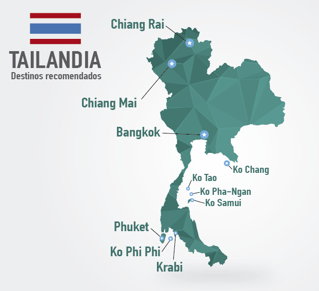 mapa de tailandia principales destinos turisticos
