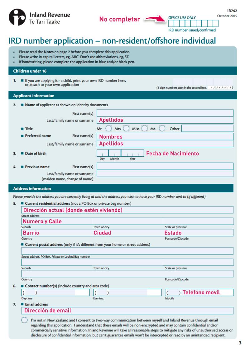 formulario ird nueva zelanda