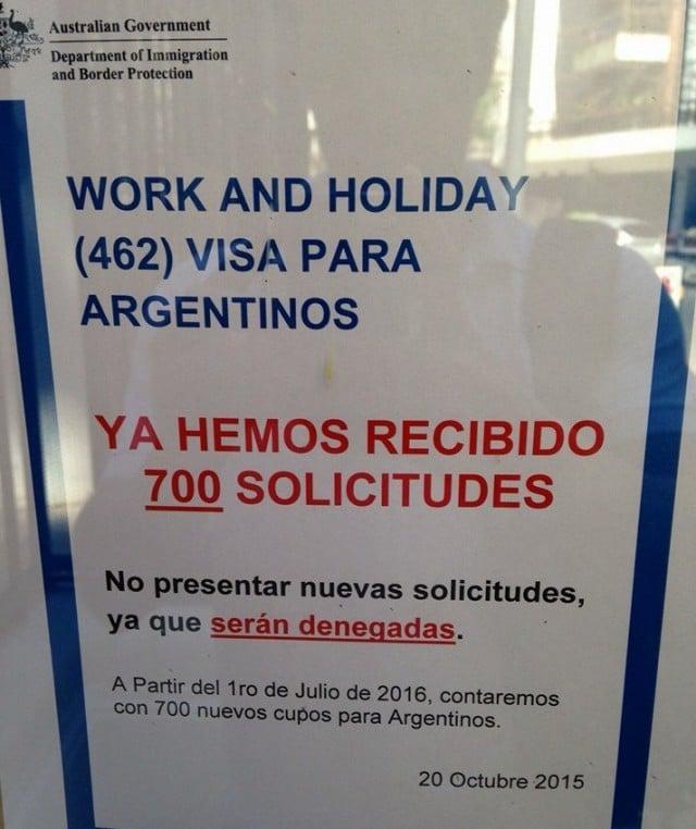 visa work and holiday australia no quedan mas visas