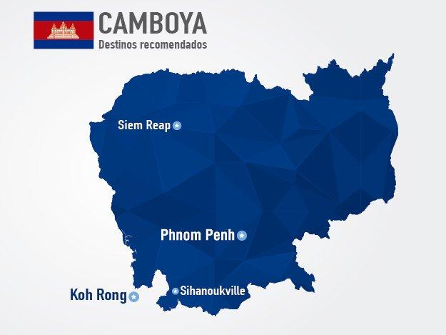 mapa de camboya destinos turisticos lugares viajar