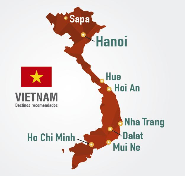 mapa vietnam principales destinos turisticos viajar