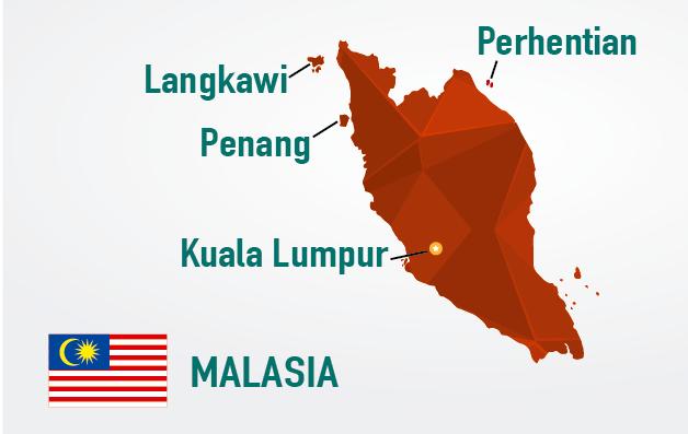 mapa de malasia principales destinos turisticos