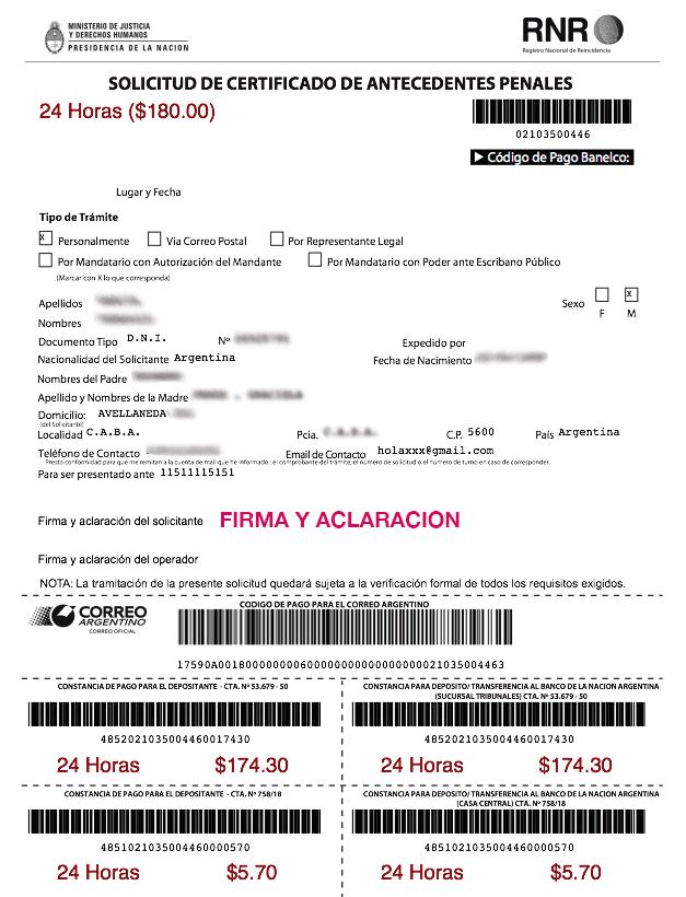 solicitud de antecedentes penales argentina