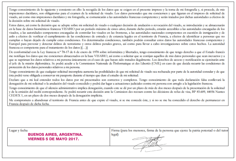 visa vvt francia formulario