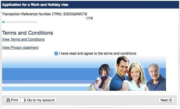 formulario online Australia