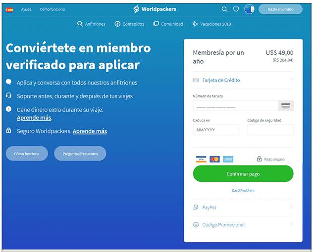 Pagar la membresía en la web Worldpackers