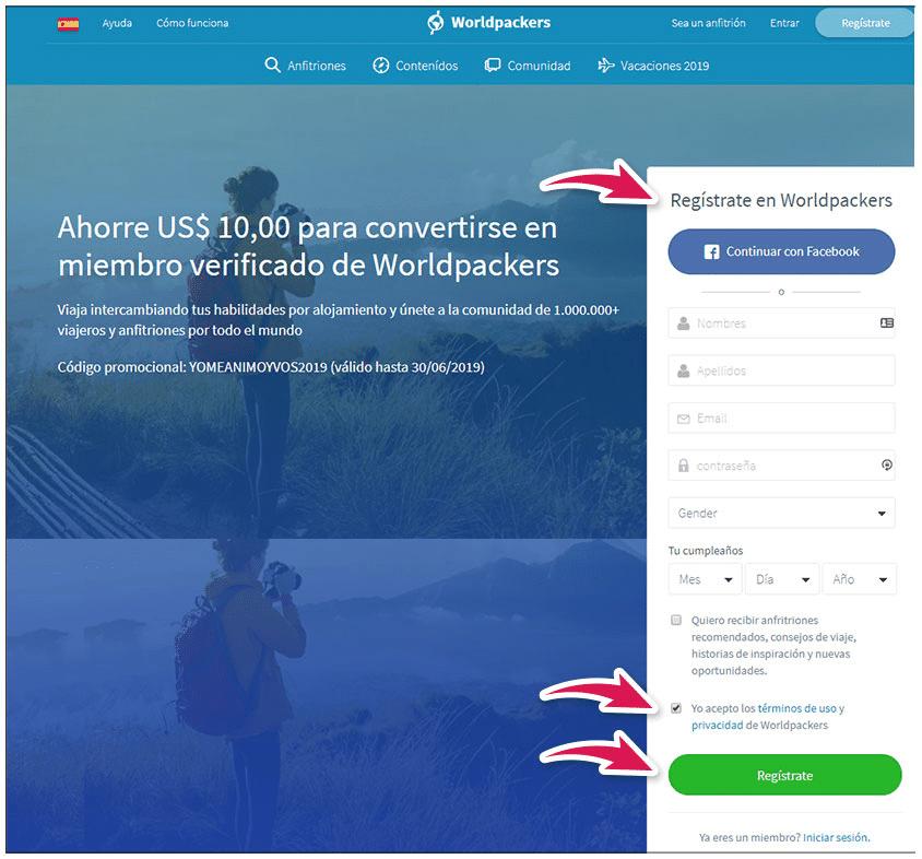Cuadro de registro de usuario en web worldpackers