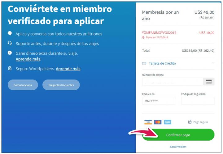 confirmación de pago con el código promocional