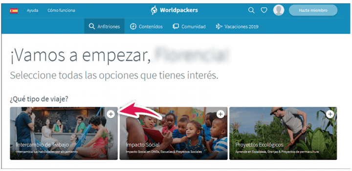 Elección de proyectos Worldpackers