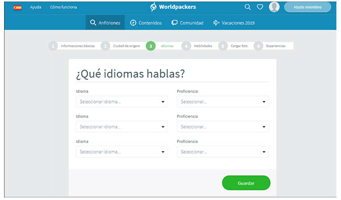 formulario para completar idiomas worldpackers