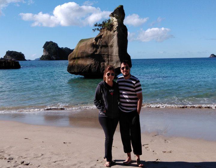 playa auckland en pareja