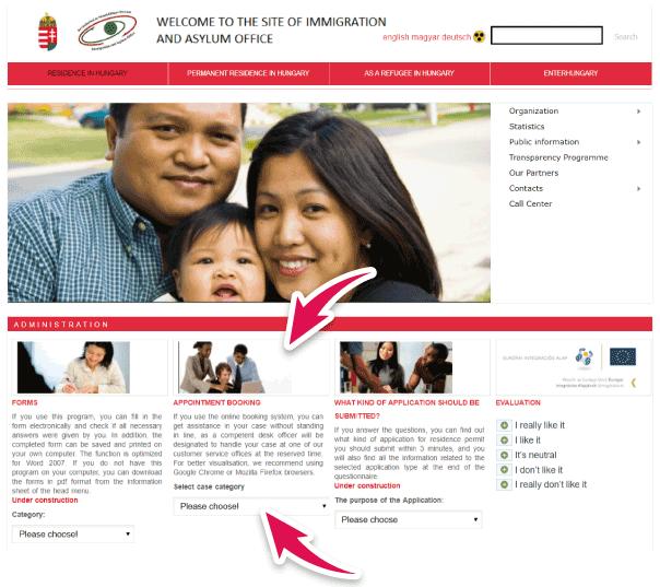 solicitar turno en la web de Hungria