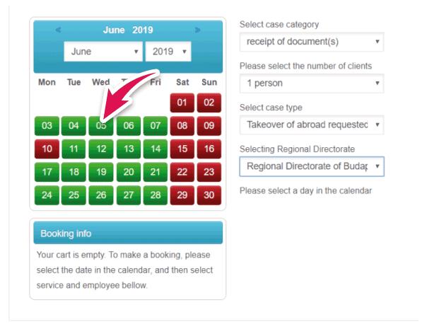 completar el calendario para solicitar turno