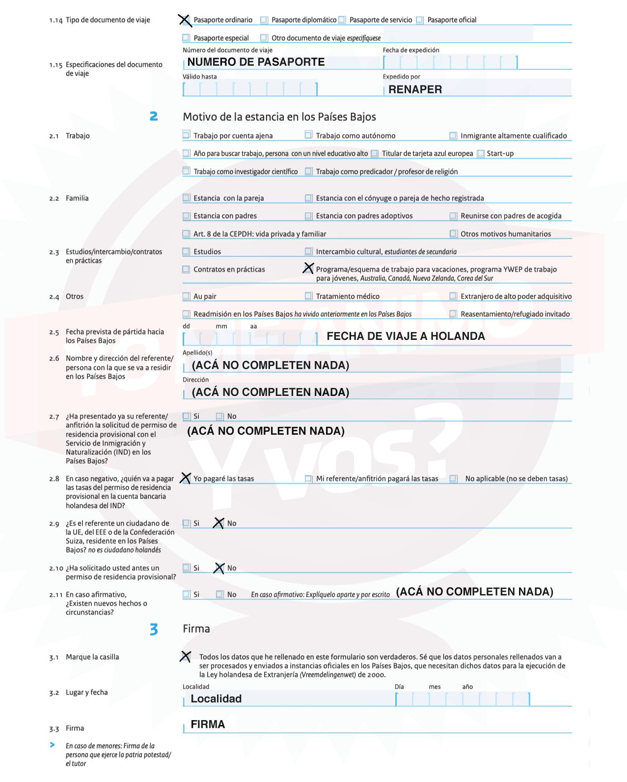 working holiday holanda formulario ejemplo como completarlo
