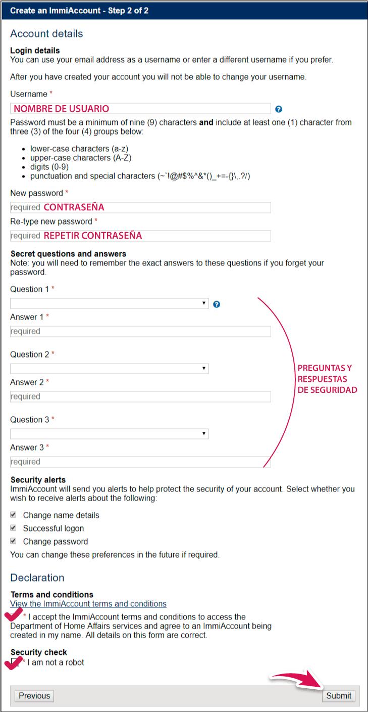Immiaccount formulario
