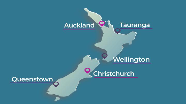 mapa ciudades nueva zelanda