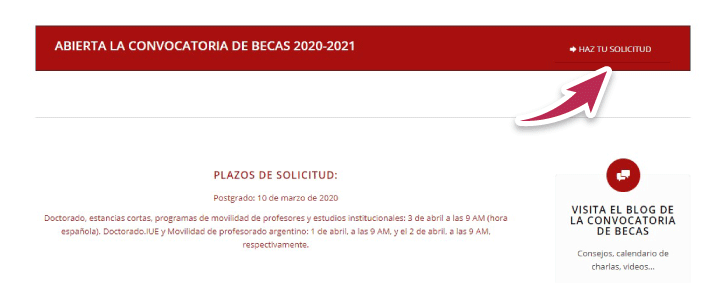 solicitud beca para estudiar en espana