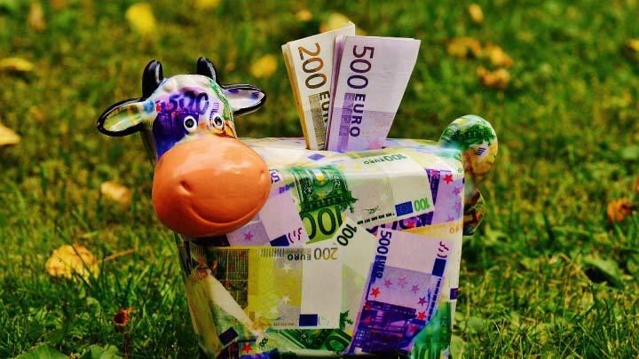 ahorros euros alcancia vaca